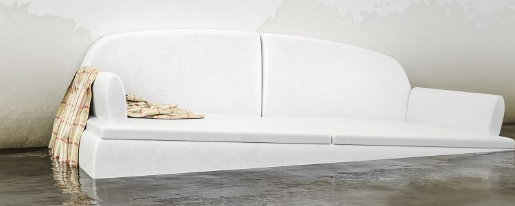An interior water damage white sofa 3d illustration